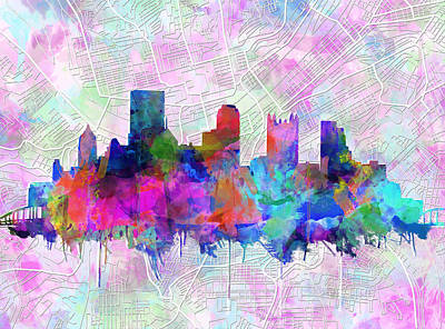 Pittsburgh Skyline Watercolor Poster by Bekim Art