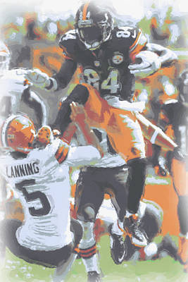 Pittsburgh Steelers Antonio Brown 4 Poster by Joe Hamilton