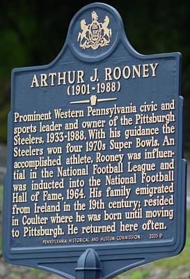 Pittsburgh Steelers Art Rooney Historical Plaque  Poster by Joe Lee