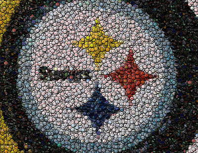 Pittsburgh Steelers  Bottle Cap Mosaic Poster by Paul Van Scott
