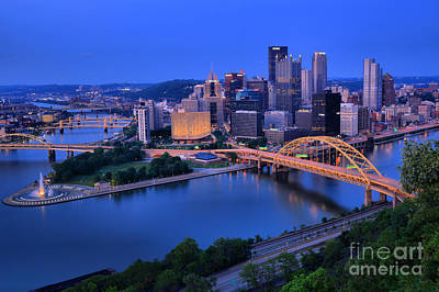 Pittsburgh Summer Skyline Poster by Adam Jewell