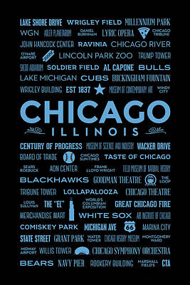 Places Of Chicago Blue On Black Poster by Christopher Arndt