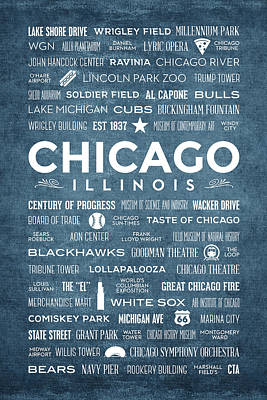 Places Of Chicago On Blue Chalkboard Poster by Christopher Arndt