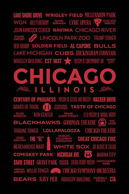 Places Of Chicago On Red On Black Poster by Christopher Arndt