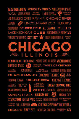 Places Of Chicago Orange On Black Poster by Christopher Arndt