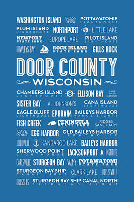 Places Of Door County On Blue Poster by Christopher Arndt