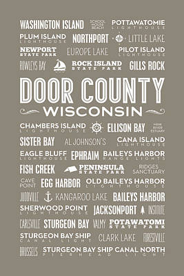 Places Of Door County On Brown Poster by Christopher Arndt