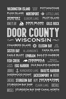 Places Of Door County On Gray Poster by Christopher Arndt