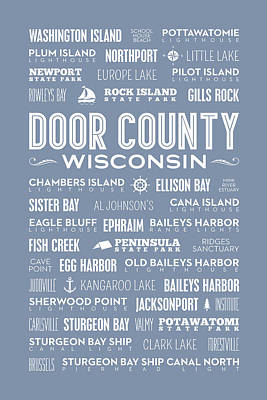 Places Of Door County On Light Blue Poster by Christopher Arndt