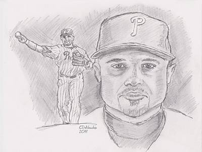 Poster featuring the drawing Placido Polanco Polly by Chris  DelVecchio