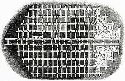 Plan Of A Coal Mine In The 19th Poster