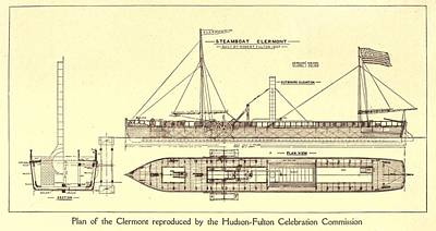 Plan Of Robert Fultons First Steamboat Poster