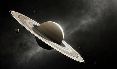 Planet Saturn With Major Moons Poster