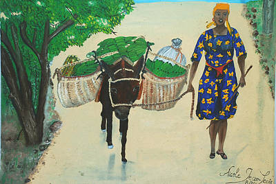 Poster featuring the painting Plantain Merchant Woman by Nicole Jean-Louis