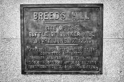 plaque on bunker hill monument breeds hill charlestown Boston USA Poster