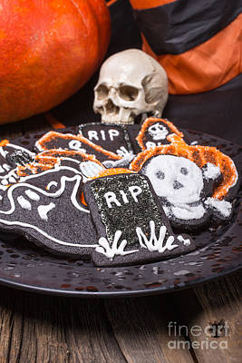 Plate Of Halloween Sugar Cookies Poster by Edward Fielding