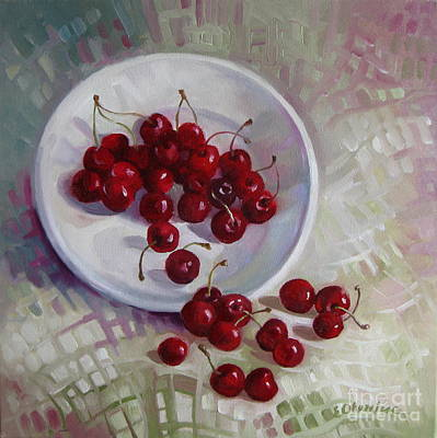 Plate With Cherries Poster