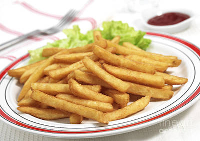 Plate With French Fries And Salad Poster by Gerard Lacz