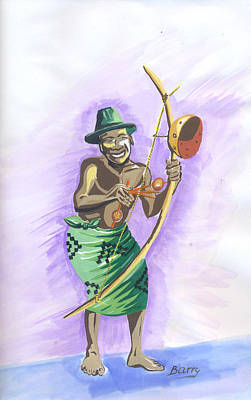 Poster featuring the painting Player Umuduri From Rwanda by Emmanuel Baliyanga