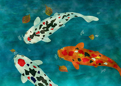 Poster featuring the painting Playful Koi Fishes Original Acrylic Painting by Georgeta Blanaru