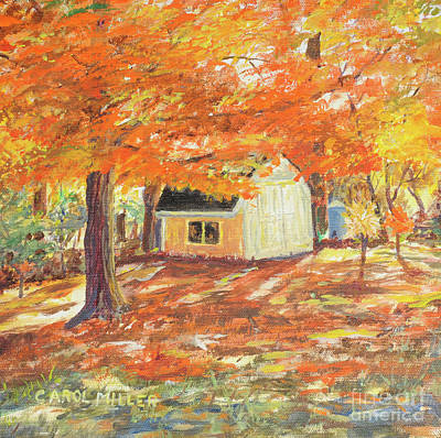 Poster featuring the painting Playhouse In Autumn by Carol L Miller