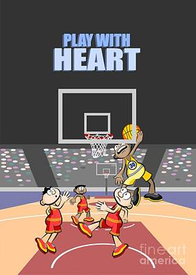 Playing With Heart The Basketball Player Jumps To The Board Poster