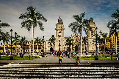 Plaza De Armas Of Lima, Peru Poster by Mary Machare