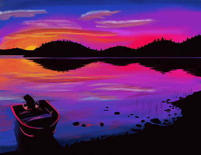 Pleasant Lake Sunset Poster by Stephen King