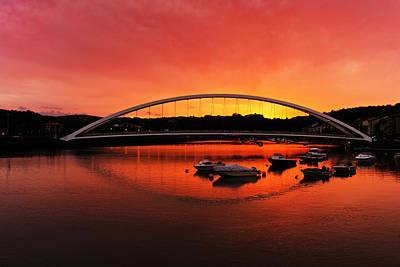 Plentzia Bridge At Sunset Poster by Mikel Martinez de Osaba
