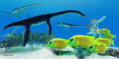 Plesiosaurus Coral Reef Poster by Corey Ford