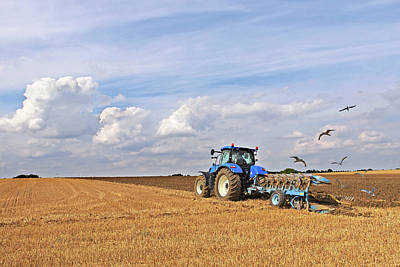 Ploughing After The Harvest Poster by Gill Billington