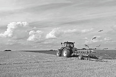 Ploughing After The Harvest In Black And White Poster by Gill Billington