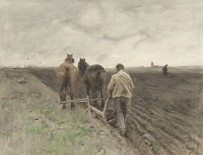 Ploughing Farmer Poster by Anton Mauve