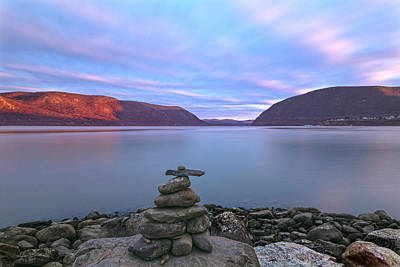 Plum  Point Rock Cairn At Sunset Poster