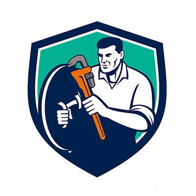 Plumber Brandishing Wrench Shield Retro Poster by Aloysius Patrimonio