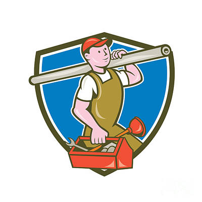 Plumber Carrying Pipe Toolbox Crest Cartoon Poster by Aloysius Patrimonio