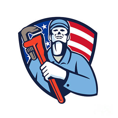 Plumber Holding Wrench Usa Flag Shield Retro Poster