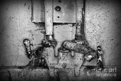 Plumbing Hot And Cold Water In Black And White Poster by Paul Ward