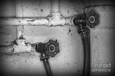 Plumbing Old Handles In Black And White Poster
