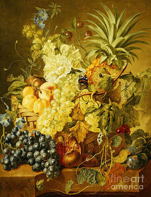 Plums, A Peach, Grapes, A Melon, A Pineapple, A Fig, Currants, Cherries And Flowers Poster