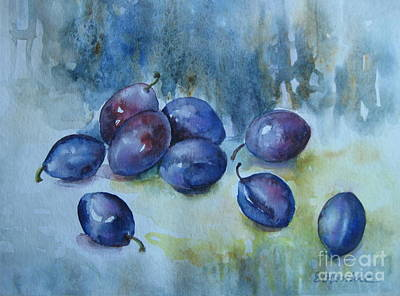 Poster featuring the painting Plums by Elena Oleniuc
