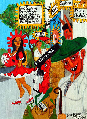 Poster featuring the painting Pneumatic Girl At The Railroad Station by Don Pedro De Gracia