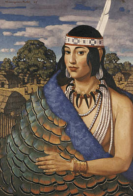 Pocahontas Wears A Turkey-feather Robe Poster by W. Langdon Kihn