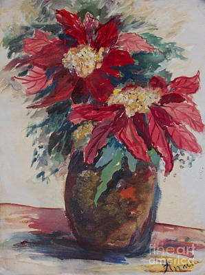 Poster featuring the painting Poinsettias In A Brown Vase by Avonelle Kelsey