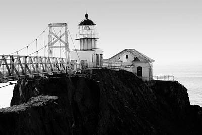 Point Bonita Lighthouse In The Marin Headlands . Black And White Poster by Wingsdomain Art and Photography