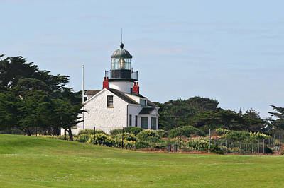 Point Pinos Light - Lighthouse On The Golf Course - Pacific Grove Monterey Central Ca Poster by Christine Till