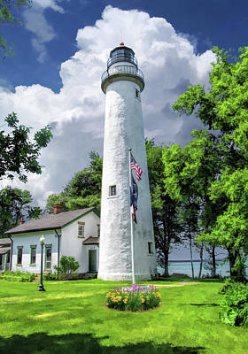 Poster featuring the painting Pointe Aux Barques Lighthouse by Christopher Arndt
