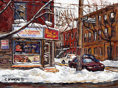 Pointe St Charles Montreal Winter Scene Painting Paul Patates Restaurant At Coleraine And Charlevoix Poster by Carole Spandau