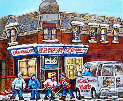 Pointe St Charles Paintings Hockey Game At Richardson Depanneur With Vintage Cott's Truck Montreal  Poster by Carole Spandau