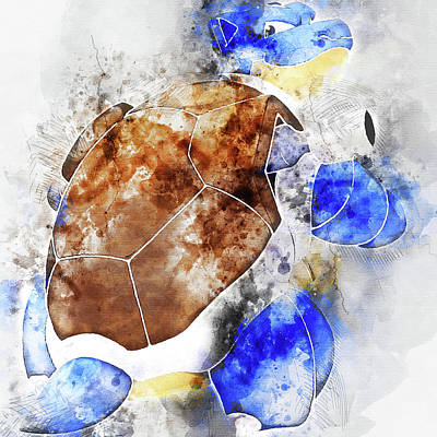 Pokemon Blastoise Abstract Portrait - By Diana Van Poster by Diana Van
